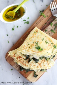 Spinach-Artichoke-and-Brie-Crepes-with-Sweet-Honey-Sauce-