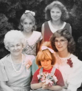 My epic mushroom hair... surrounded by family's stellar hairstyles.
